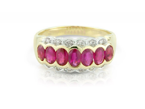 Yellow Gold Ruby And Diamond Fancy Eternity Dress Ring